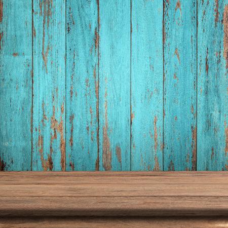 Vintage wood table in wood wall room. Archivio Fotografico