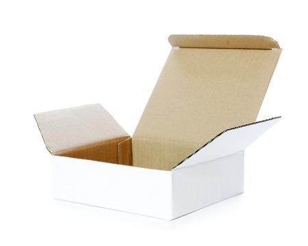 Open white box on white background. photo