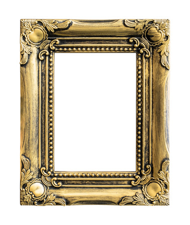 mirror frame: Old picture frame on white background.