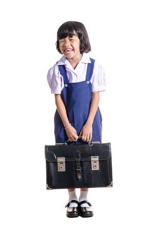 thai student: Young asian student on white background. Stock Photo