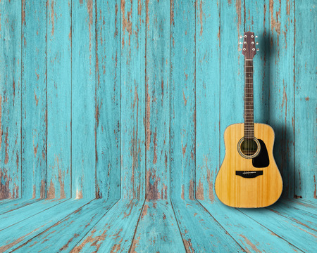 dirty room: Guitar in vintage wood room. Stock Photo