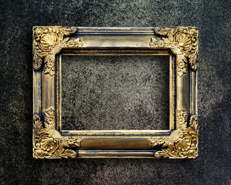 old frame: Old picture frame on grunge wall. Stock Photo