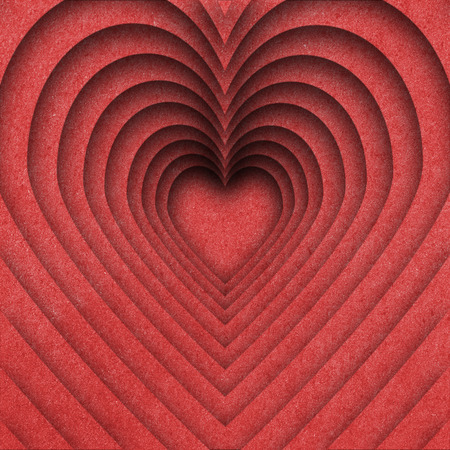 two object: Red hearts paper background.