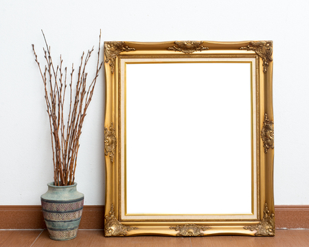 Picture frame on white wall room. Stock Photo