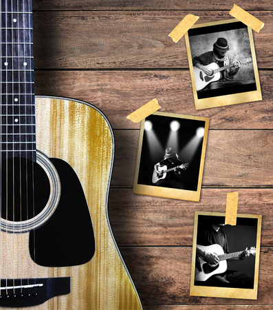grunge frame: Guitar and guitarist photo photo frame on wood background.