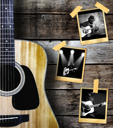 Guitar and guitarist photo photo frame on wood background. 版權商用圖片 - 44639412