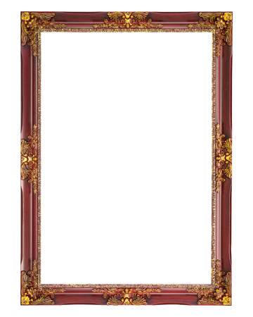 vintage photo frame: Old picture frame on white background.