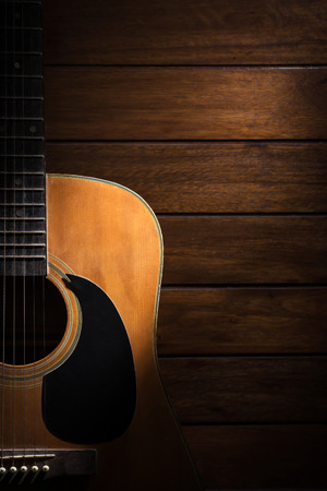 music background: Guitar on wood background.