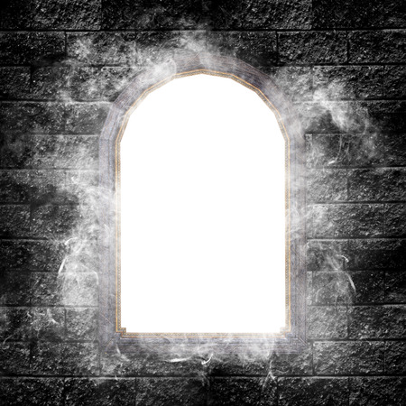 wooden circle: Magic mirror with foggy on dark brick wall.