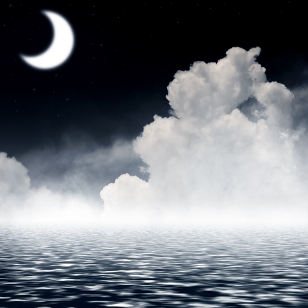 sky reflection: Night sky with  moon and reflection in sea.