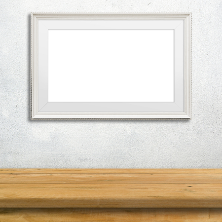 white poster: Template Mock up poster frame on white cement wall.