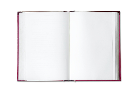 Open blank book isolated on white background.