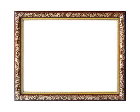 golden frame: Old picture frame on white background.
