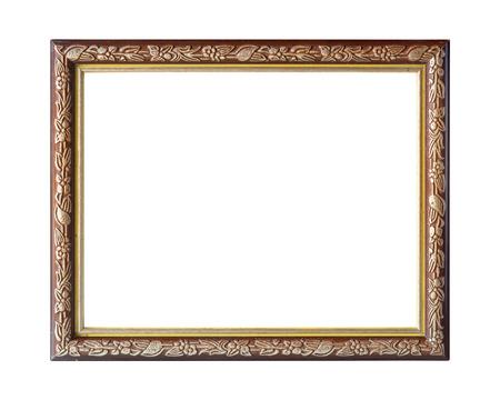 marco madera: Viejo marco en el fondo blanco. Foto de archivo