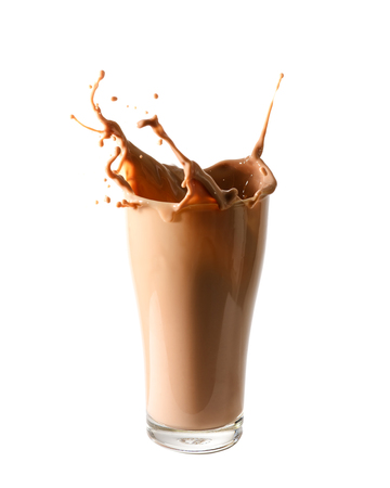 Splash of chocolate milk from the glass on isolated white  background. Imagens - 57886227