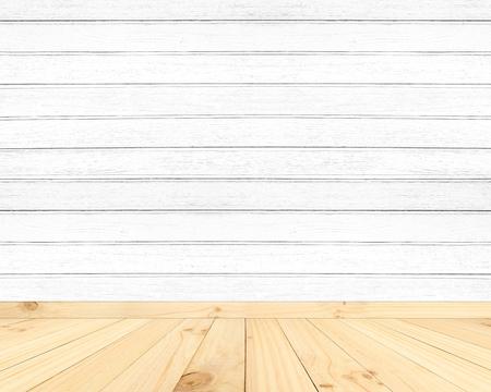 wood room: Vintage wood room. White wood wall. Stock Photo