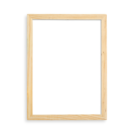 Wooden blank picture frame isolated on white background.