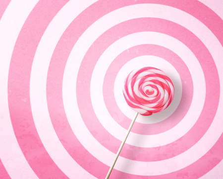 punctuate: Lollipop on circle pattern pink and white background with copy space.,Pastel tone.