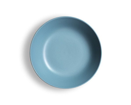 Blank blue dish isolated on a white background.