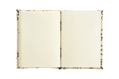 magazine stack: Open blank book isolated on white background.