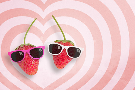 doublet: Couple strawberry wearing sunglasses on hearts pattern pink and white background with copy space.,Pastel tone.