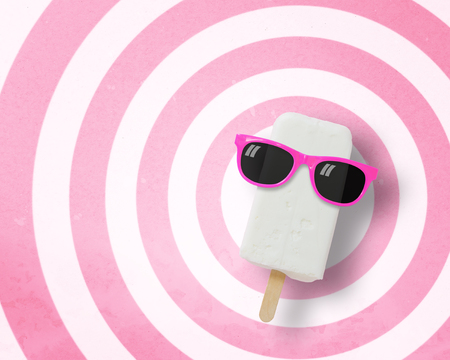 punctuate: Ice cream stick wearing sunglasses on circle pattern pink and white background with copy space.,Pastel tone