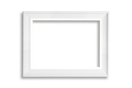White blank picture frame isolated on white background. Фото со стока