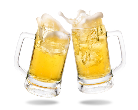 Cheers cold beer with splashing out of glasses on white background. Banco de Imagens - 78490582