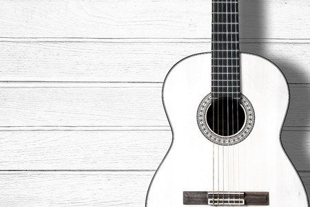 space wood: Acoustic guitar on wood background with copy space.