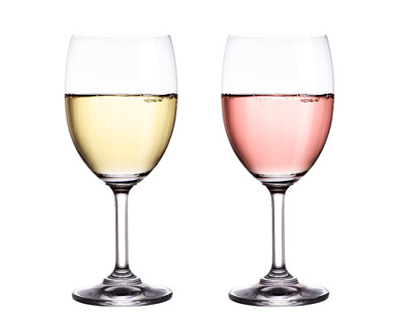 White and red wine in glass isolated on white background. 版權商用圖片