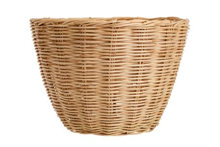 Empty wooden basket isolated on white background. 版權商用圖片
