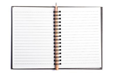 Open blank notebook and pencil isolated on white background.
