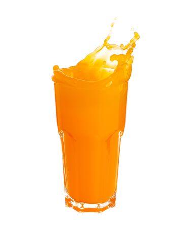 Orange juice splashing out of glass isolated on white background.