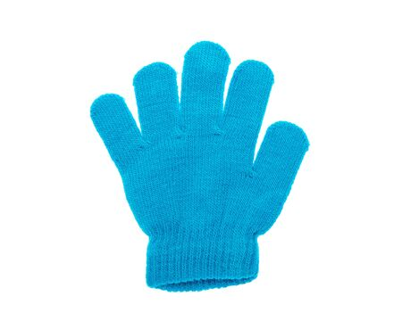 Blue knitted gloves isolated on white background.