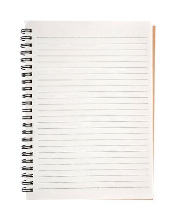 Öffnen Sie das leere Notizbuch, das auf weißem Hintergrund lokalisiert wird. Standard-Bild