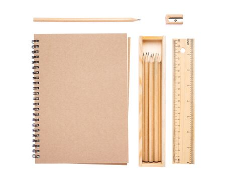 Collection set of stationery have notebook, pencil , pencil box, ruler, sharpener isolated on white background. 版權商用圖片