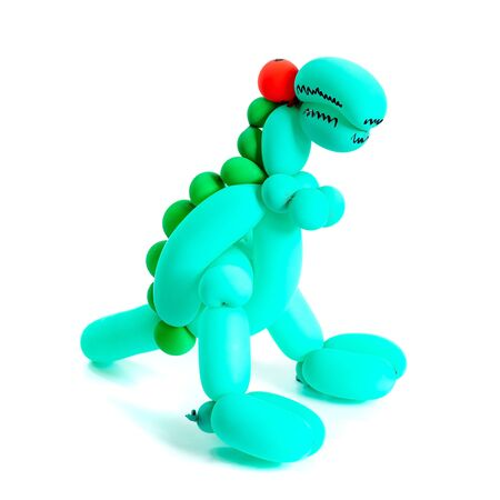 Dinosaur toy made from balloon twisting isolated on white background.