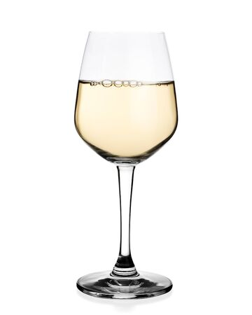 White wine in glass isolated on white background.