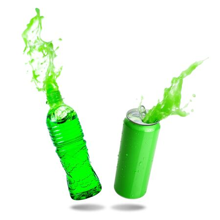 Green soda splashing out of bottle and green canned isolated on white background
