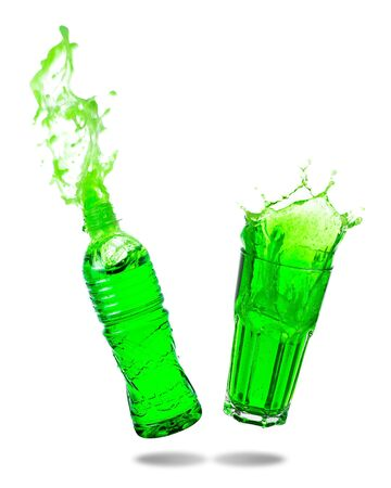 Couple green soda splashing out of glass and bottle isolated white background. Standard-Bild - 129488858