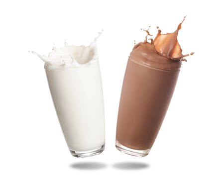 Milk and chocolate milk splashing out of glass isolated on white background.