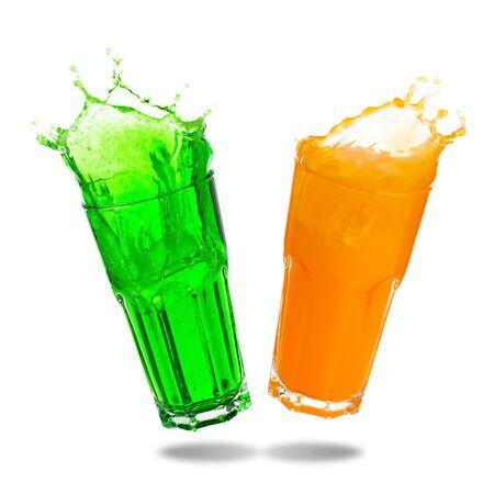 Couple orange juice and green soda splashing out of glass isolated on white background.