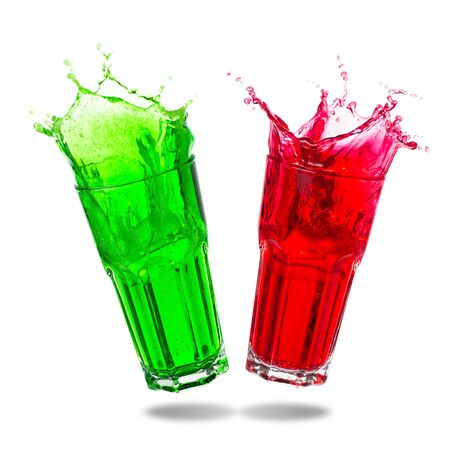 Couple green soda and red soda splashing out of glass isolated  on white background.