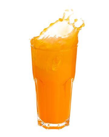 Orange juice splashing out of glass isolated on white background. Standard-Bild - 129488869