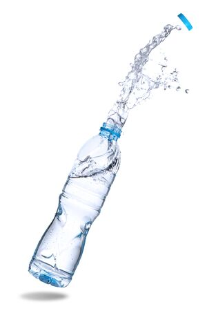 Water splash out of bottle isolated on white background. Standard-Bild - 129488608
