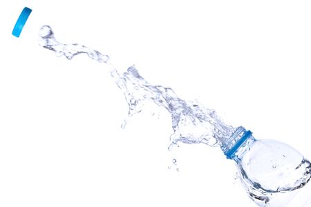 Water splash out of bottle isolated on white background. 版權商用圖片