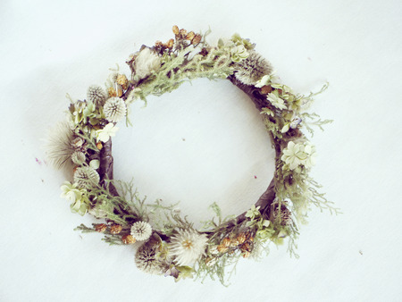 decorations wreaths: Dried Flowers wreath Stock Photo