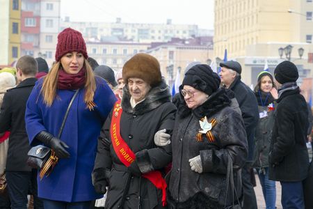 NORILSK, RUSSIA - MAY 9, 2016: Parade of veterans of the Great Patriotic War