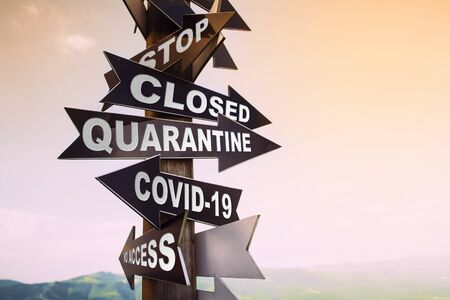 stop sign quarantine coronavirus no access. Quarantine stay home concept