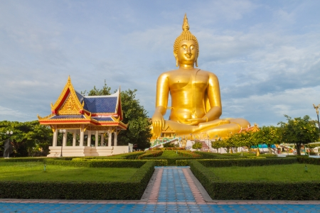 big buddha in temple of thailand in a morning day